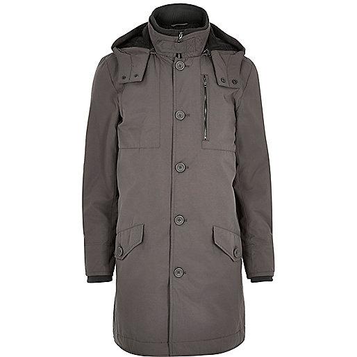 Grey casual long parka jacket