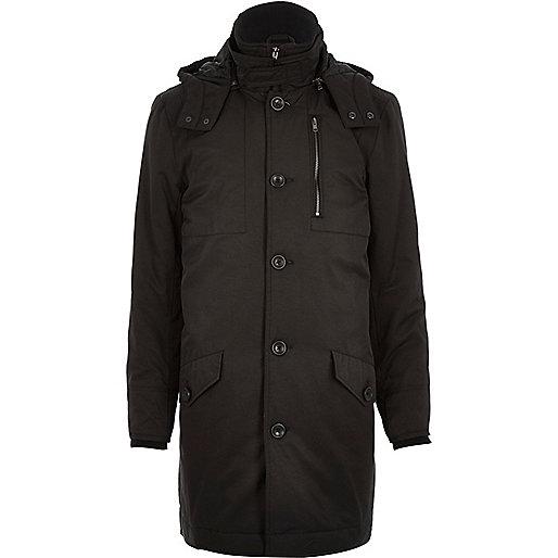 Black casual long parka jacket