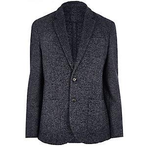 Grey wool-blend herringbone jacket