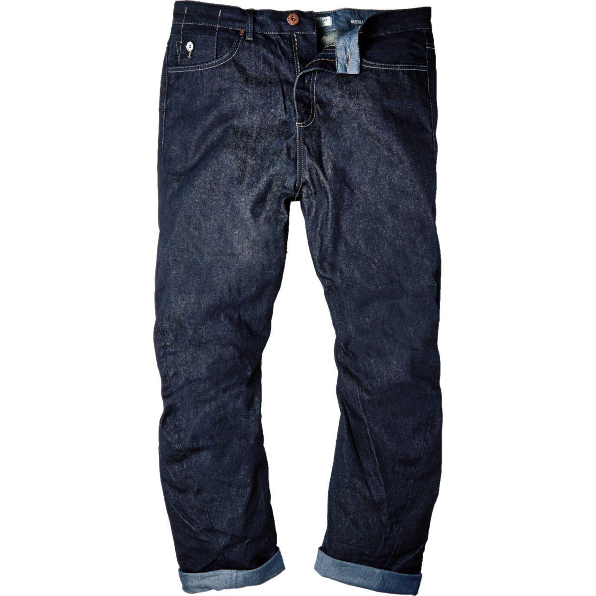 Dark blue wash slouchy fit jeans