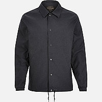 Navy herringbone casual coach jacket