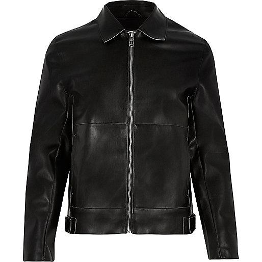 Black leather-look jacket