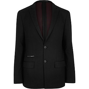 Black zip pocket slim blazer