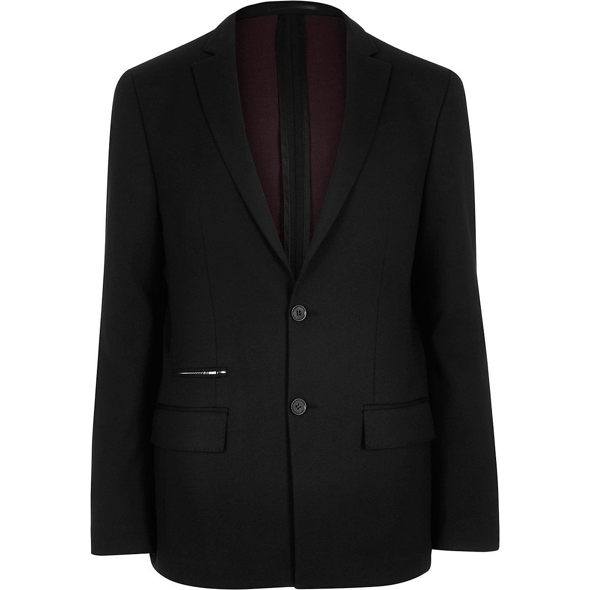 Blazer slim noir avec poche zippée