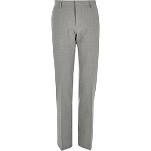 Grey wool-blend slim suit trousers