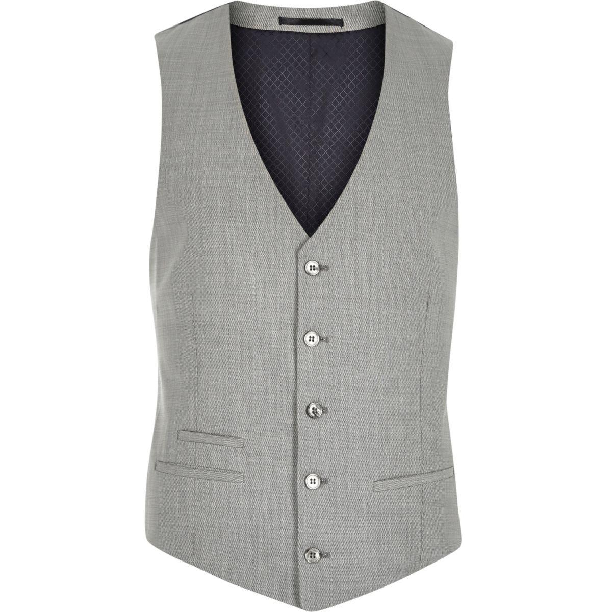 Grey wool-blend slim suit vest