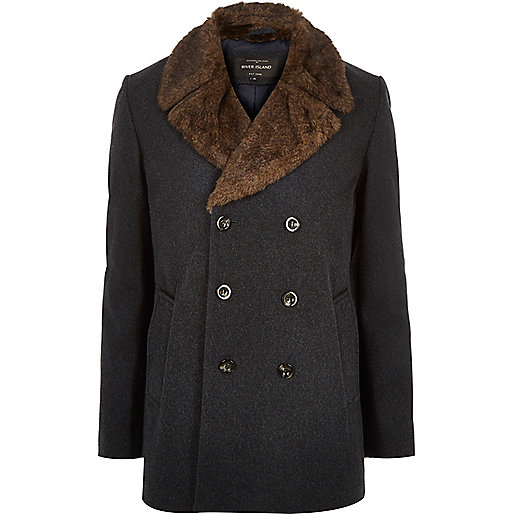 Dark grey double-breasted winter pea coat