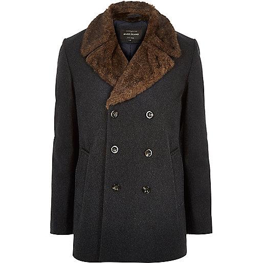 Dark grey double-breasted winter pea coat