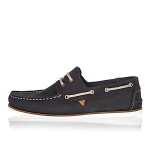 Chaussures bateau en nubuck bleu marine