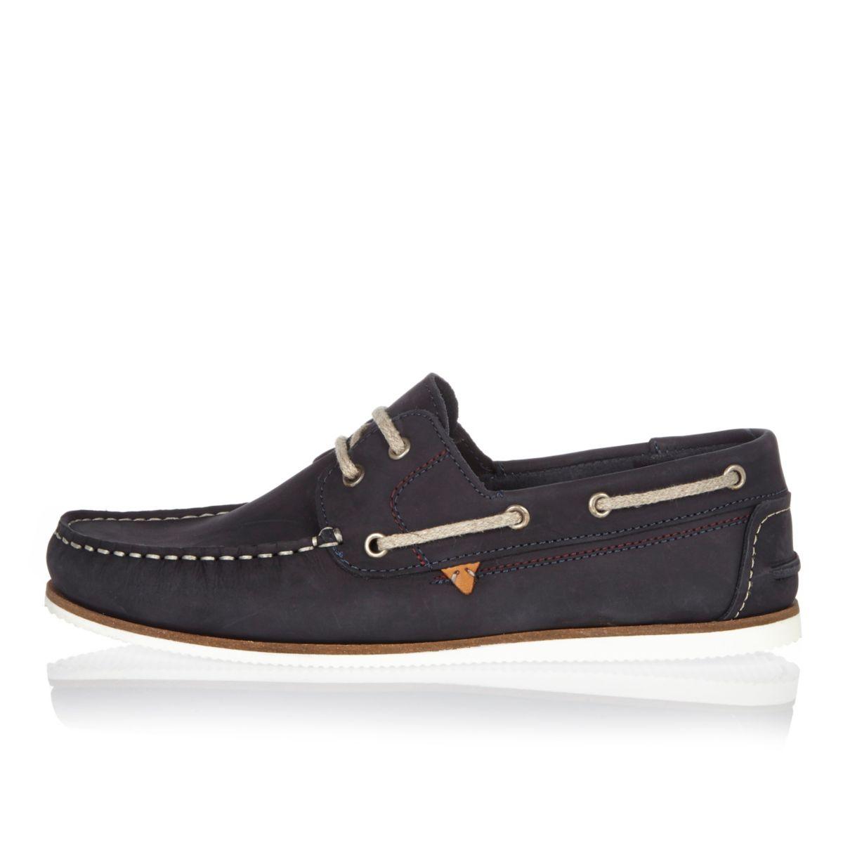 Navy Blue Nubuck Boat Shoes