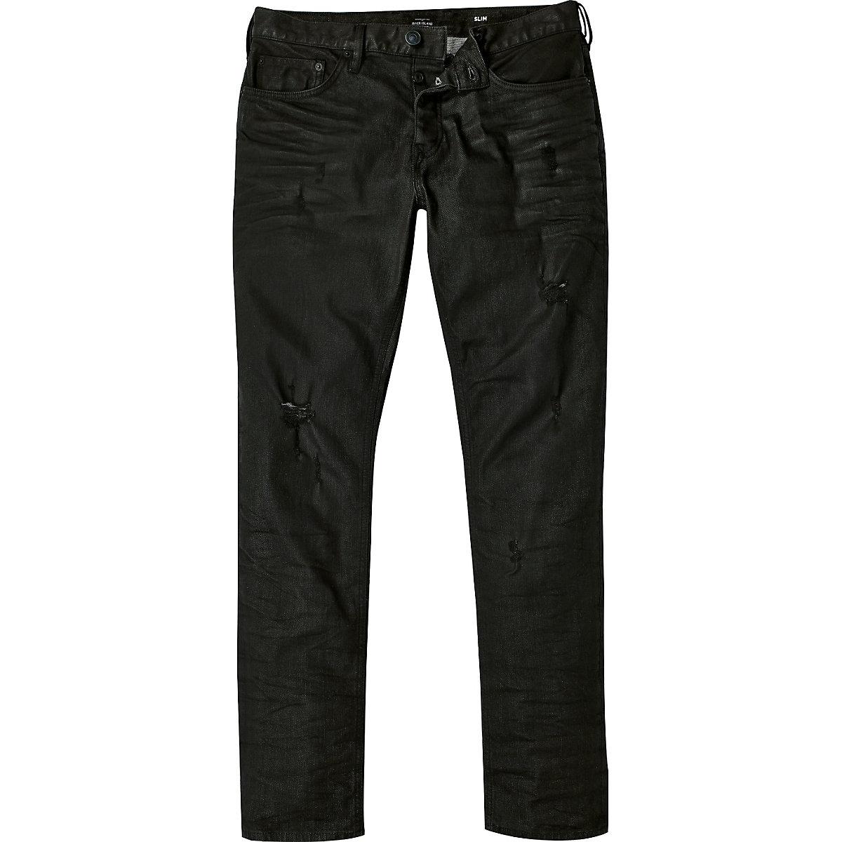 Black distressed Dylan slim jeans