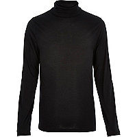 Black jersey roll neck