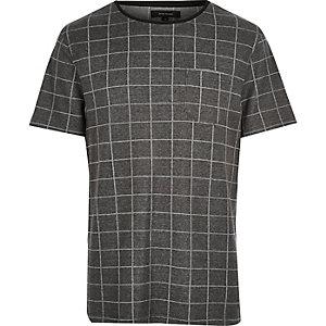 T-shirt à carreaux gris foncé