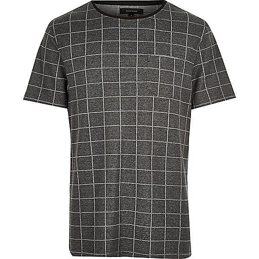 Dark grey check t-shirt