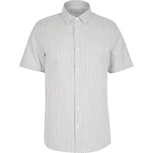 Grey stripe short sleeve shirt