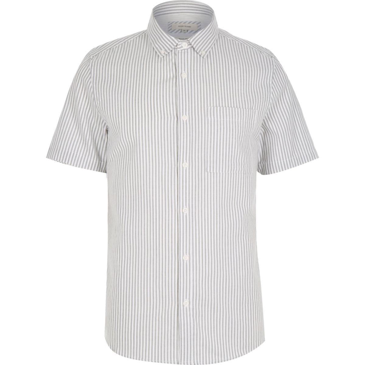 Grey stripe short sleeve shirt