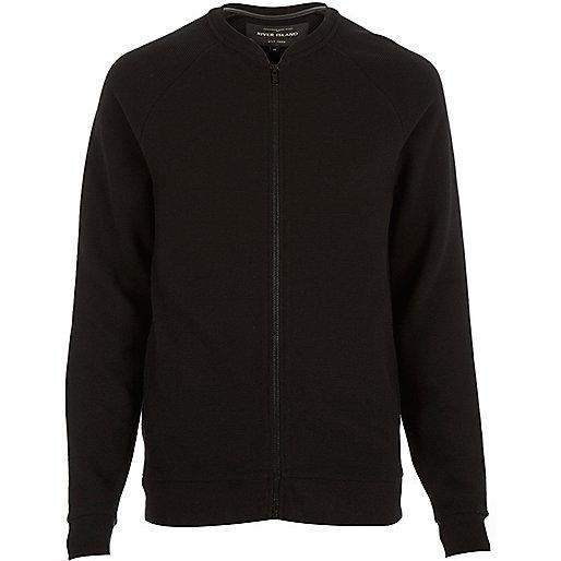 Black textured ribbed bomber jacket