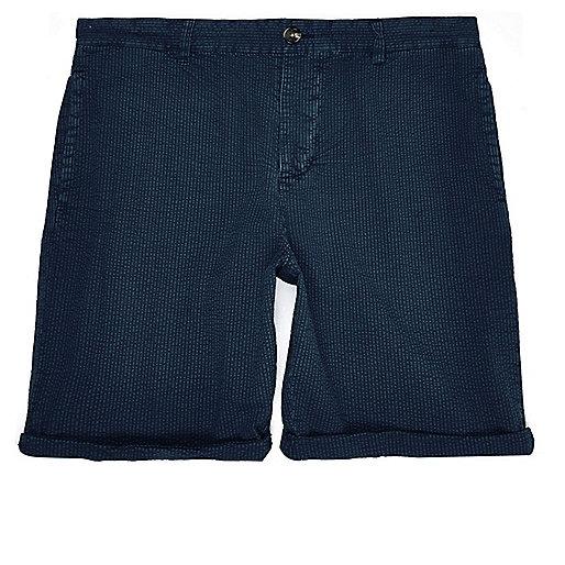Navy seersucker slim fit bermuda shorts