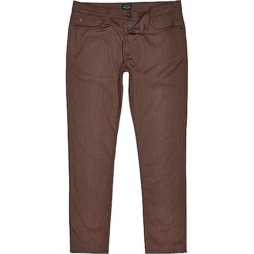 Brown five pocket slim fit pants