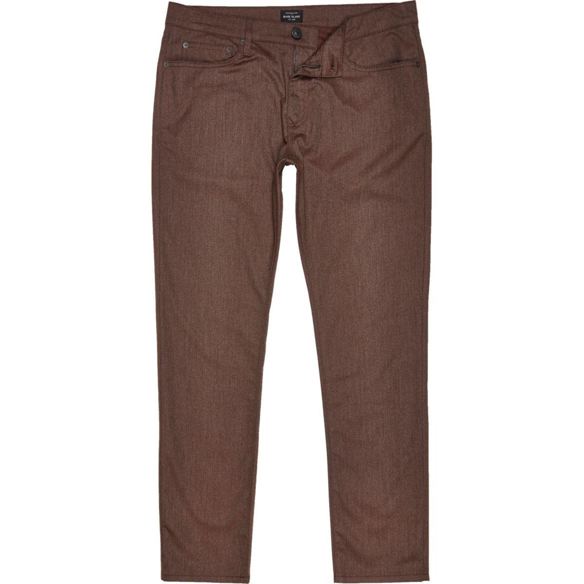 Brown five pocket slim fit trousers