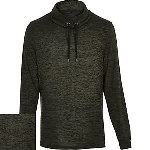 Khaki marl cowl neck sweatshirt