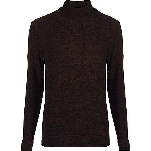 Dark brown jersey roll neck