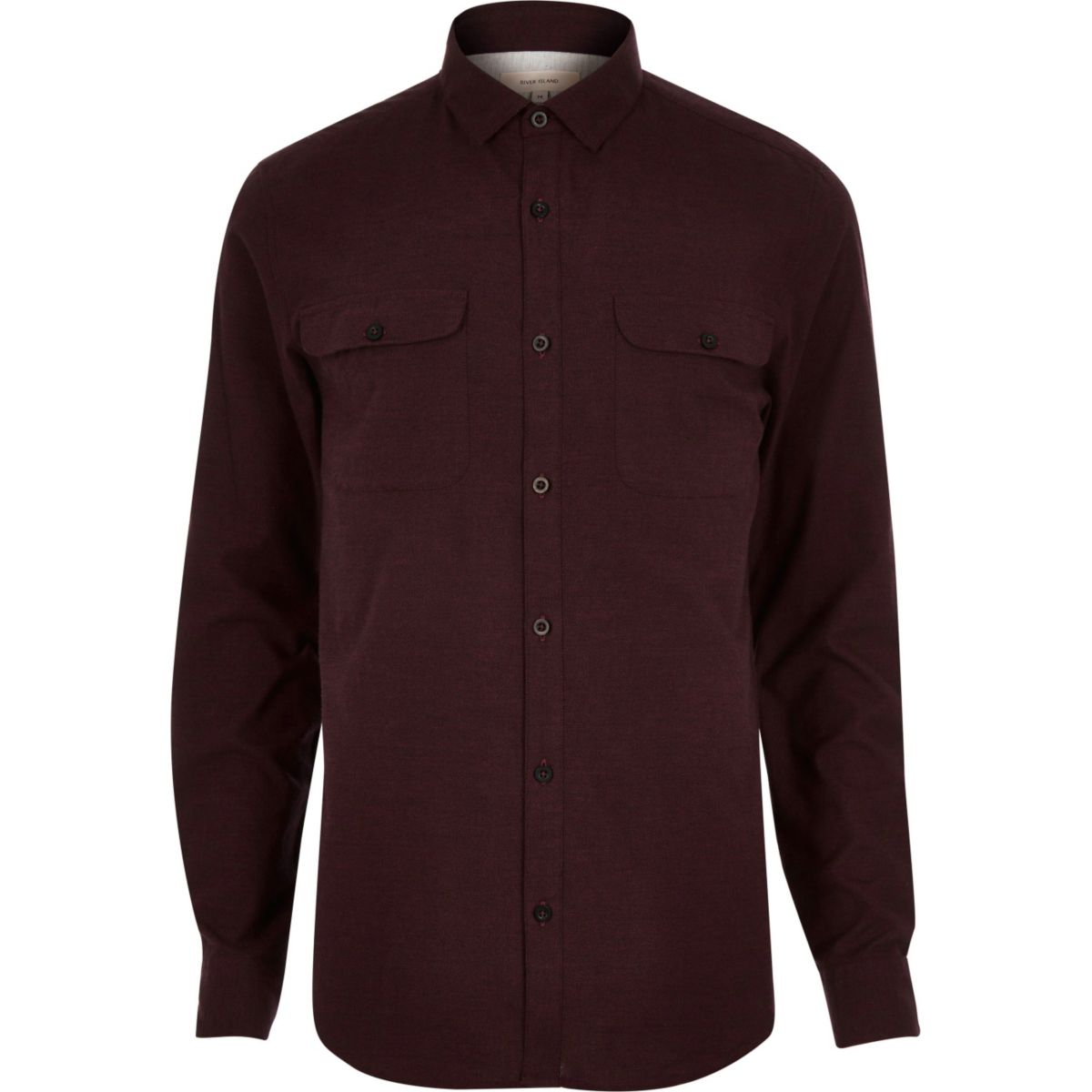 Berry brushed flannel two pocket shirt