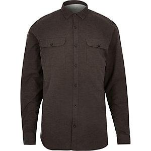 Chemise en flanelle grattée marron à deux poches