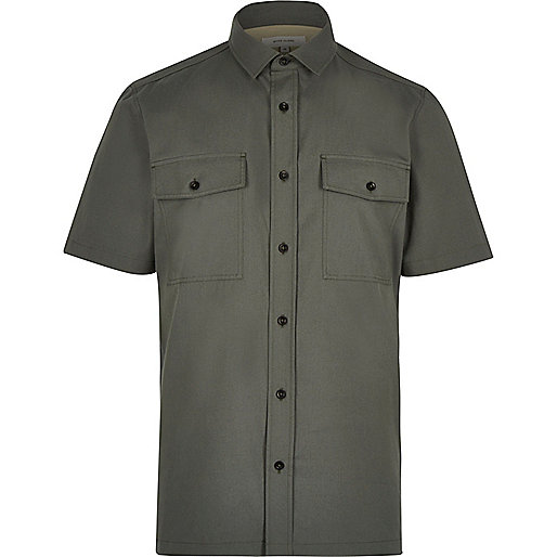 Khaki green utility short sleeve shirt