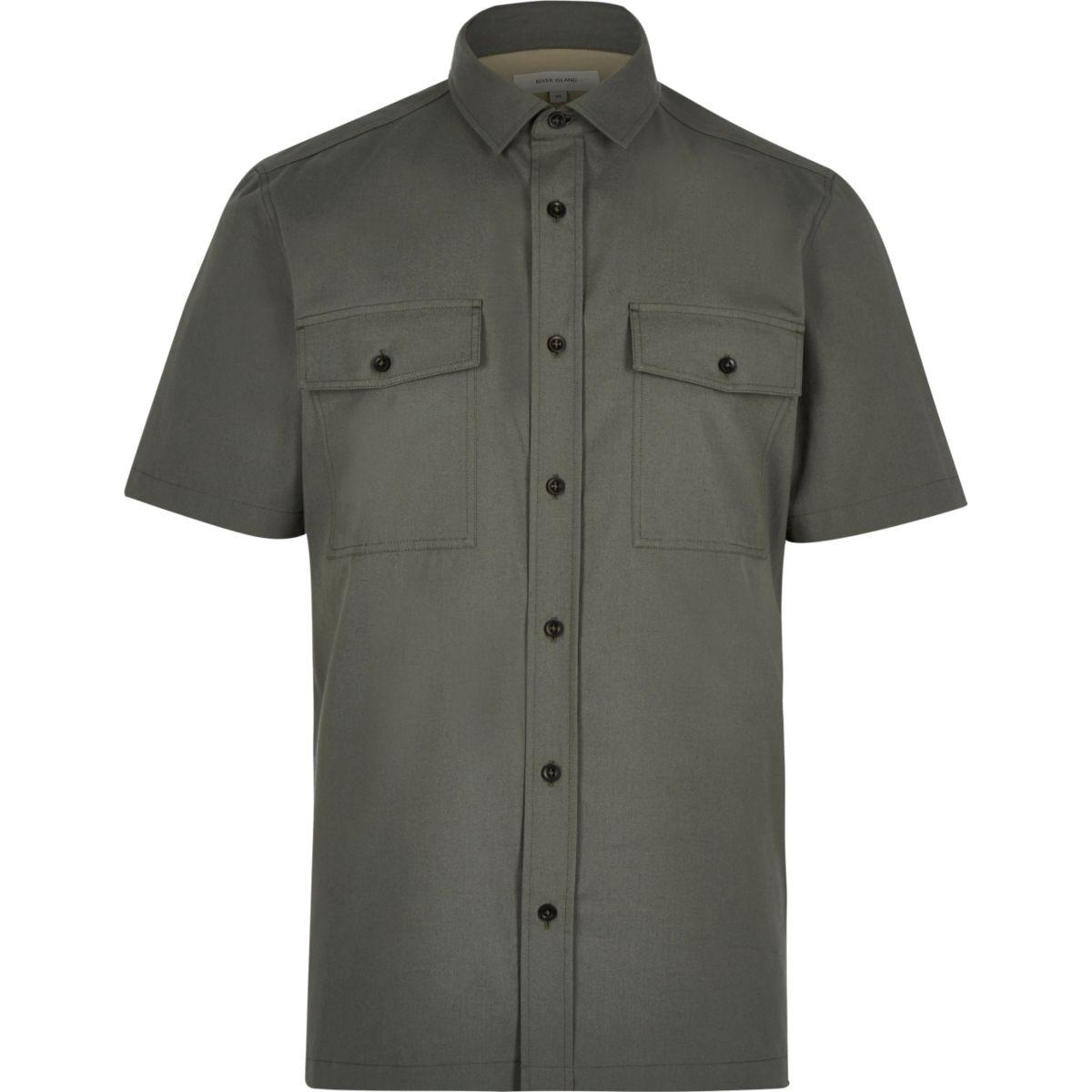 Khaki green utility short sleeve shirt