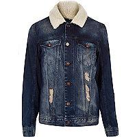 Dark washed fleece collar denim jacket