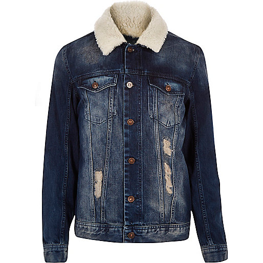 Dark washed fleece collar denim jacket
