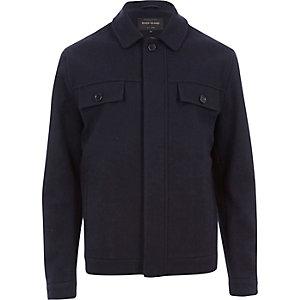 Navy wool-blend harrington jacket