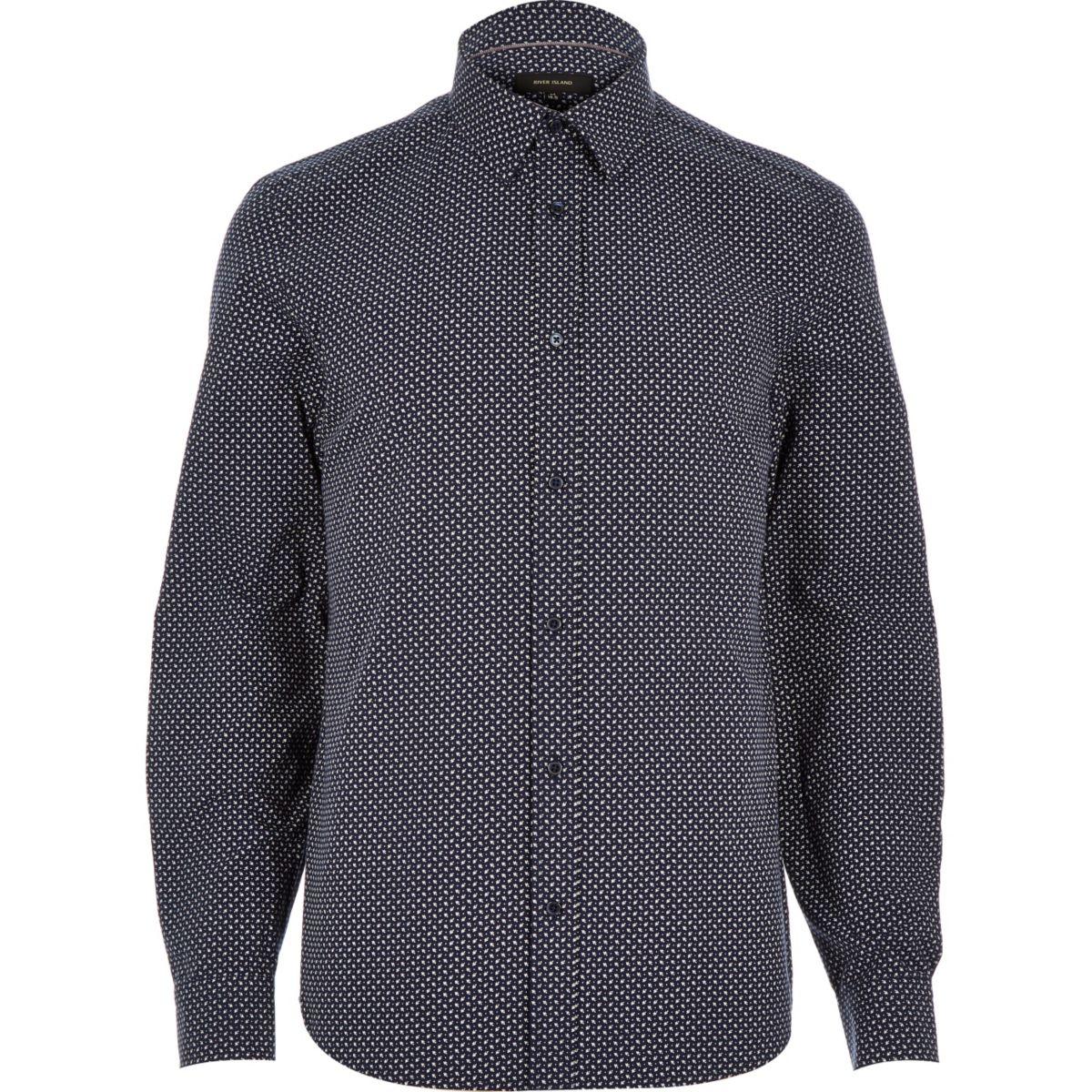 Navy blue arrow print shirt