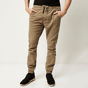 Brown casual cuffed trousers