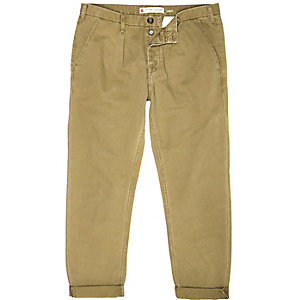 Light brown casual cuffed trousers