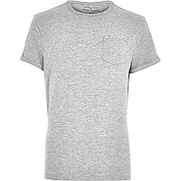 Grey marl roll sleeve pocket T-shirt