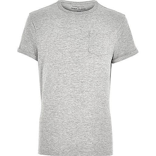 T-shirt gris chiné à manches retroussées