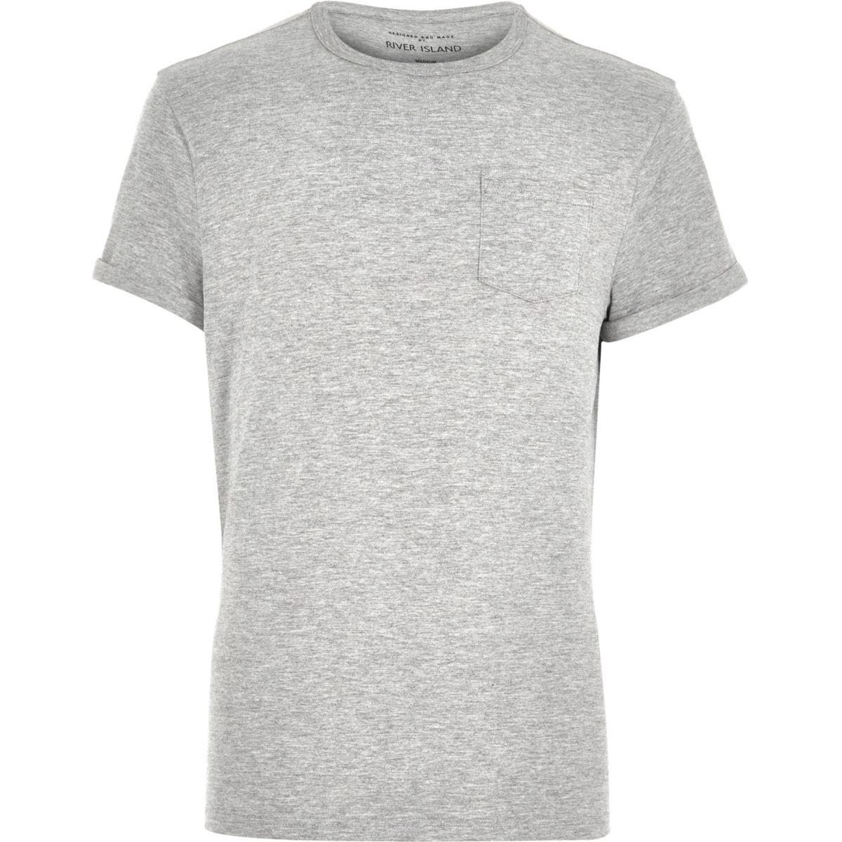 Grey marl roll sleeve pocket T-shirt