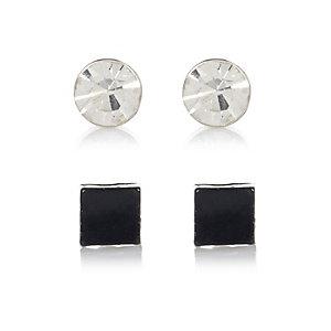 Set van 2 bling-oorbellen in zwart en met diamanteffect