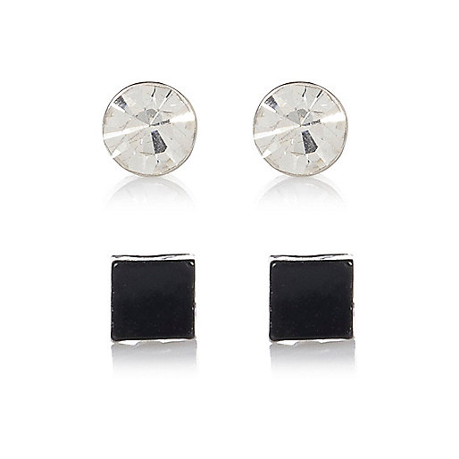 Black and diamante 2 pack bling earrings