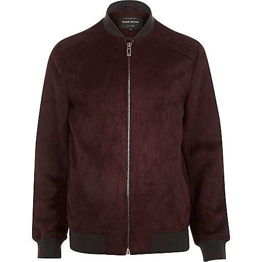 Dark red faux-suede bomber jacket