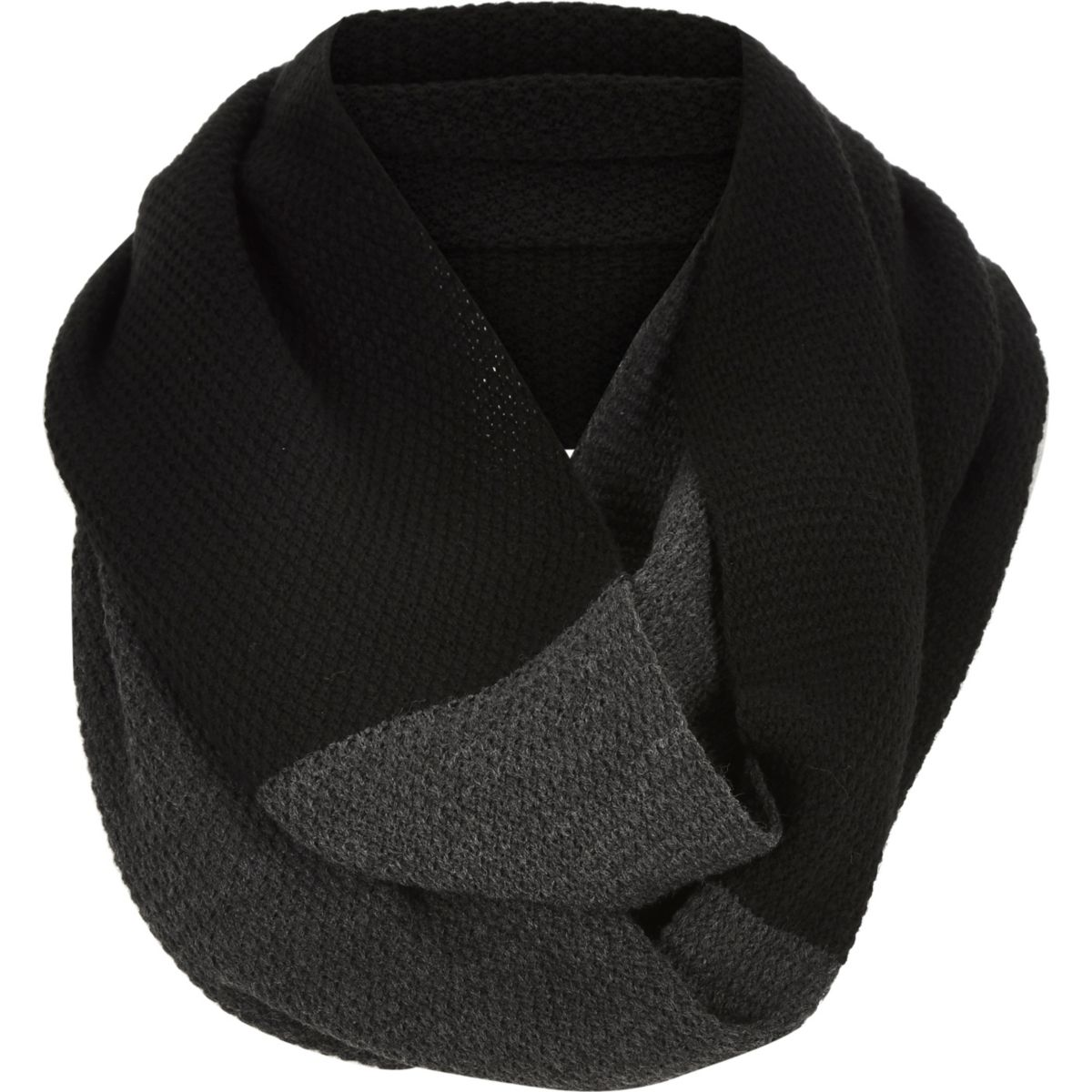 Black two color twisted snood