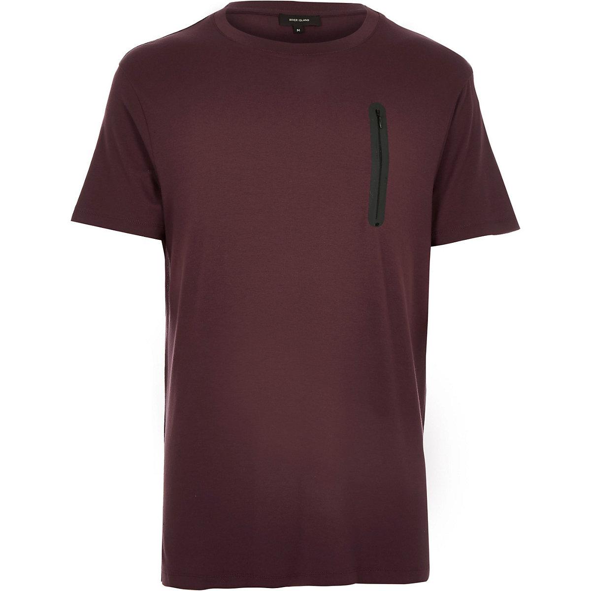 Dark red space dye zip pocket t-shirt