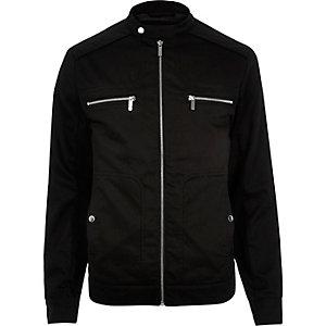 Black large pocket bomber jacket