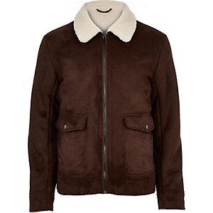 Dark brown faux suede jacket