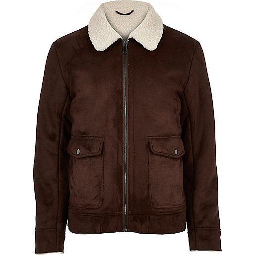 Dark brown faux suede jacket - coats / jackets - sale - men