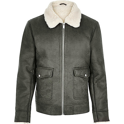 Grey shearling collar jacket - coats / jackets - sale - men