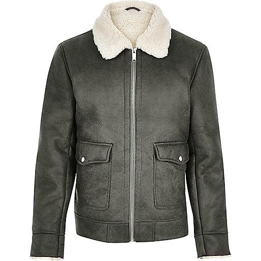 Grey shearling collar jacket