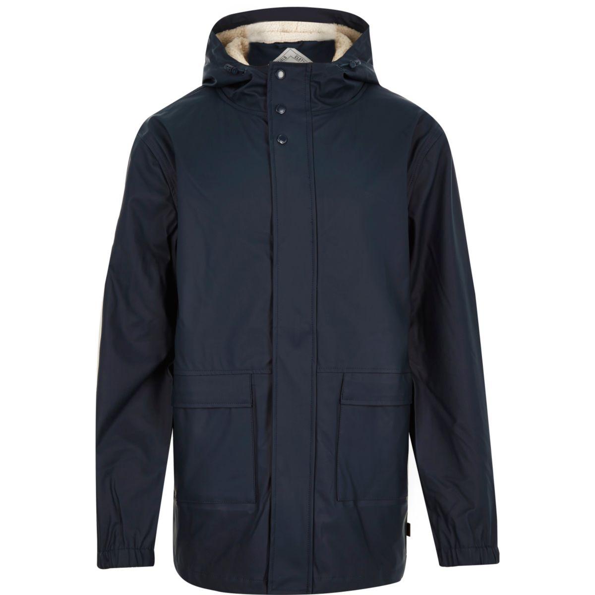Navy Bellfield waterproof parka winter coat